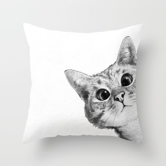 sneaky cat Throw Pillow 💕💕 pillows  Cute and kawaii designs on pillows  for teens, girls and kids. Find decorative pillows for bedroom, with sayings or beautiful designs. #design #decor #society6 #cute #kawaii #pillow #pillows #sboar #lovely #interior #home #bedroom #bedroomdecor #animals #pets #wild #flower #floorpillow #floor #mermaid