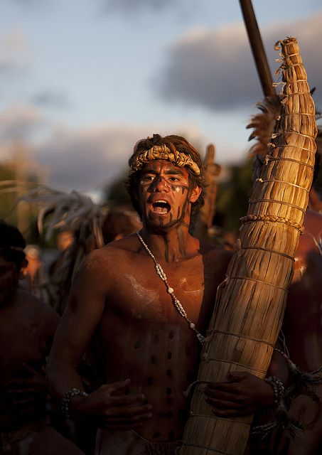 Man With Totora Boat During Tapati Festival, Easter Island, Chile by Eric Lafforgue, via Flickr