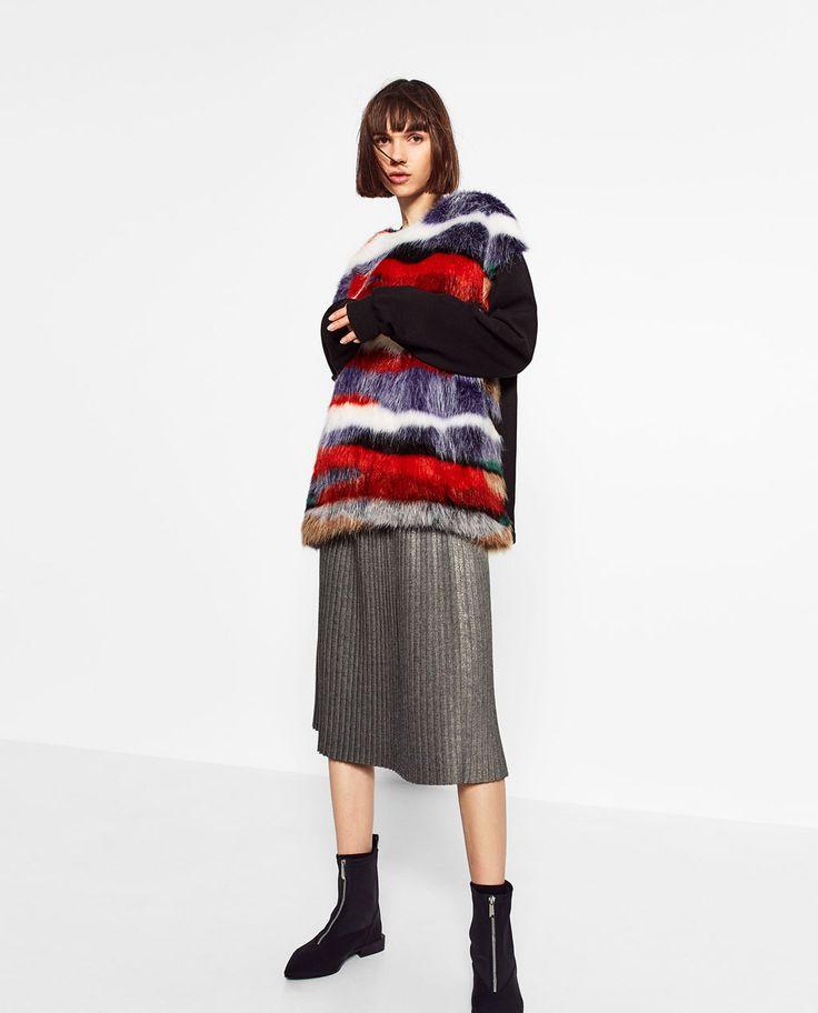 マルチカラーフェイクファースウェットシャツ-今週の新商品-TRF | ZARA 日本