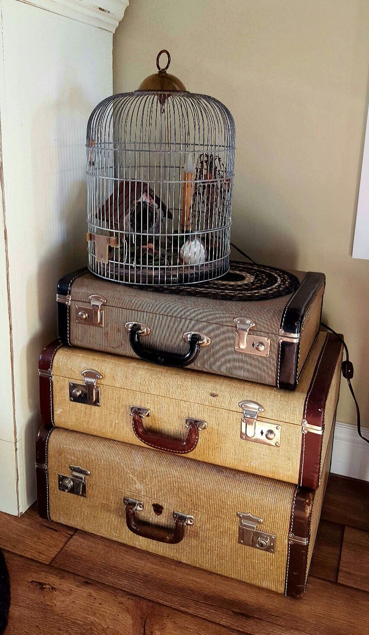 Vintage suitcases can serve many purposes when stacked together .