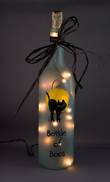 Lighted Halloween Wine Bottle