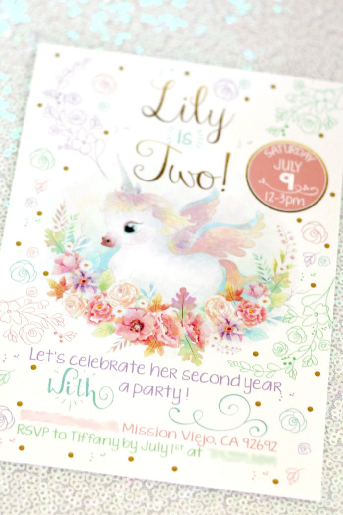 Unicorn invitation from a Pastel Iridescent Unicorn 2nd Bday Party 044e43c215a54