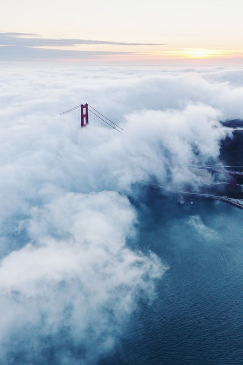 The Golden Gate in the fog.