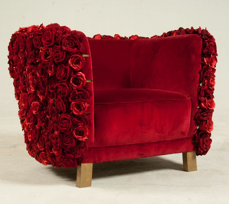 Velvet Red Flower Chair www.MadamPaloozaEmporium.com www.facebook.com/MadamPalooza