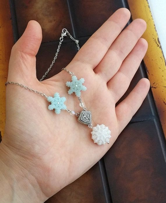 Triple Snowflake Charm Necklace Handmade From by EvasCreationsShop