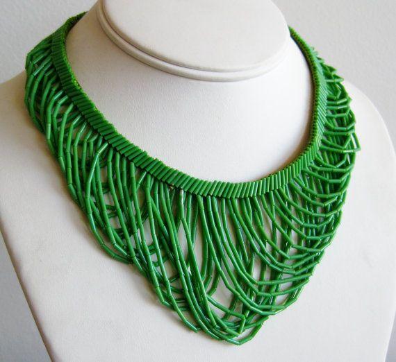 Vintage 40s Woven Green Glass Bugle Bead Draped Bib Necklace