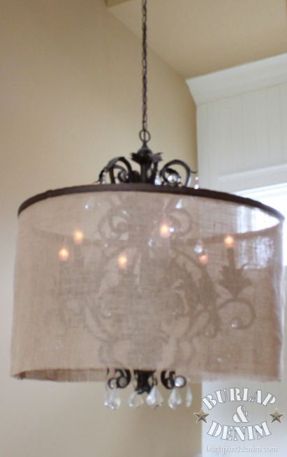 hula hoop and burlap to dress up an old chandelier