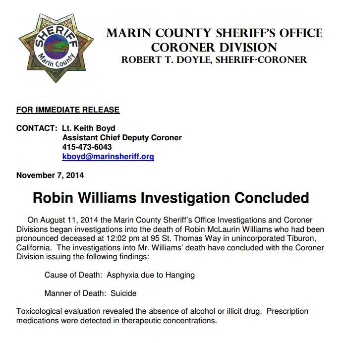results yahoo search certificate death monroe marilyn robin williams autopsy
