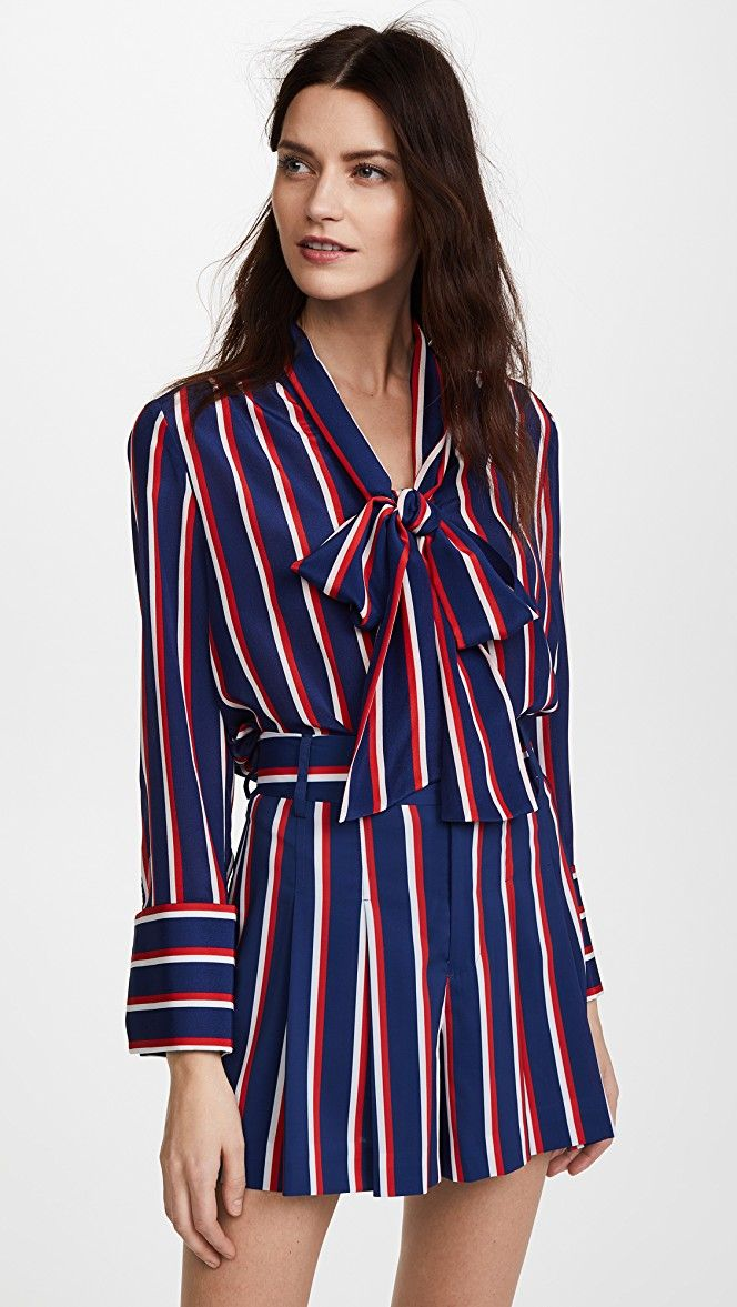 alice + olivia Arie Tie Neck French Cuff Top | SHOPBOP