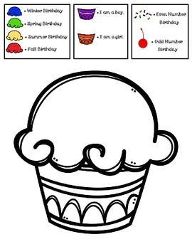 FREE Birthday Cupcake Glyph-Perfect for Back To School ((((((((((( I LOVE…