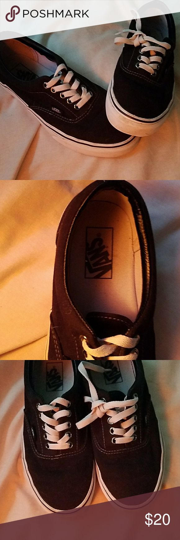 Black vans Classic black authenic vans. Really good condition. Just a tiny bit dirty around the sole (I'm sure it would come out w a scrub but I haven't tried) and a little worn in the back. (See photos) These are a 39/8.5 and run true to size. I'm between an 8 and 8.5 and these fit perfectly! Vans Shoes Sneakers