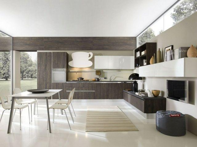 123 best Cuisine blanche images on Pinterest Home kitchens - image cuisine ouverte sur salon