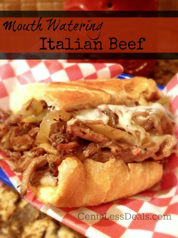 "Mouth Watering Italian Beef recipe. one pinner said ""Our favorite italian beef is from Portillo's but since we've moved we can't get it. This recipe is the next best thing!! It's so delicious that we once had this 3 times in a week!"""