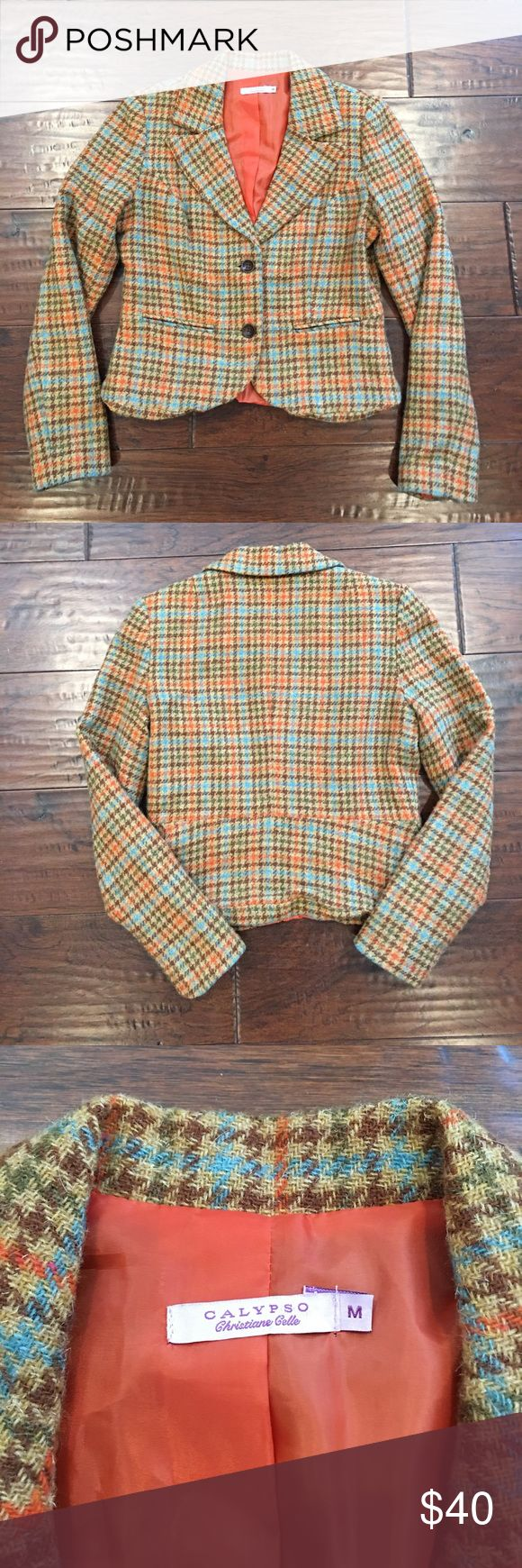 Wool 2 Button Front Calypso Blazer Houndstooth plaid blazer with orange lining. Great looking coat! Calypso St. Barth Jackets & Coats