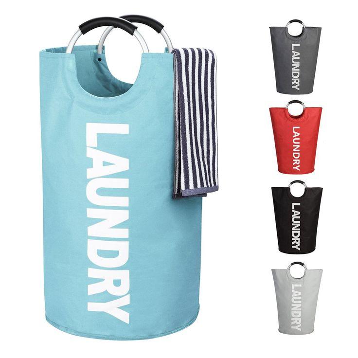 WISHPOOL Large Laundry Basket Collapsible Laundry Hamper Foldable Clothes Bag Folding Washing Bin 15DX24H (Blue)