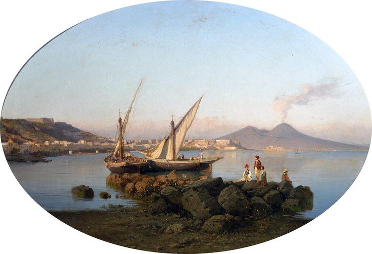 La Volpe Alessandro (Lucera, FG 1820 - Roma 1887) Panorama di Napoli con pescatori  olio su tela, cm 74,5x106