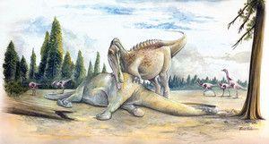 Espinossauro Algumas formas do maior dinossauro carnívoro eram adaptadas ao ambiente terrestre...