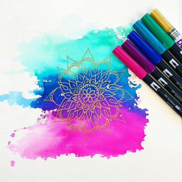 How To Make A Watercolor Mandala Background Using Tombow Brush