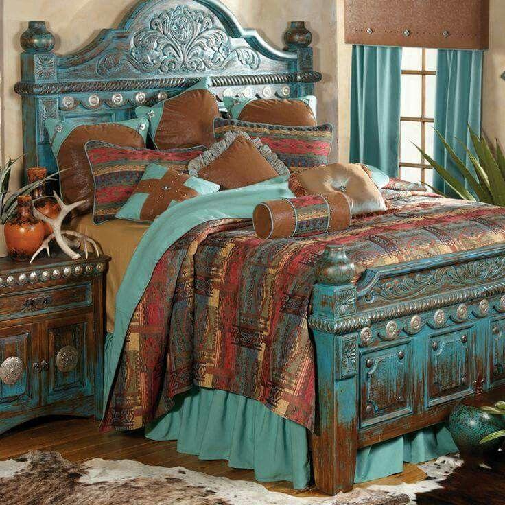 59 best western bedrooms images on pinterest furniture for Southwest beds