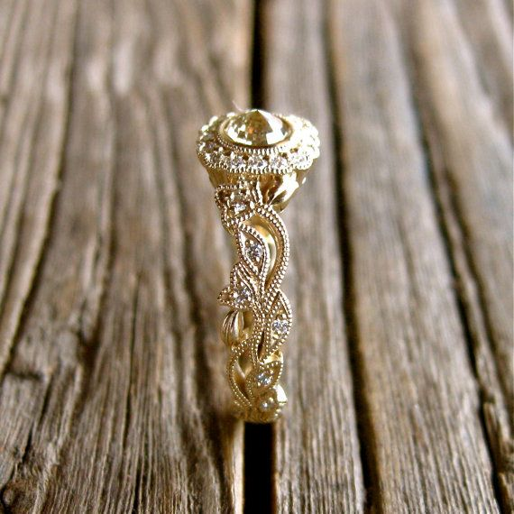 Handmade Natural Rose Cut Brown Diamond Engagement Ring in 14K Yellow Gold with Leaf & Vine Motif and Diamonds Size 6.5