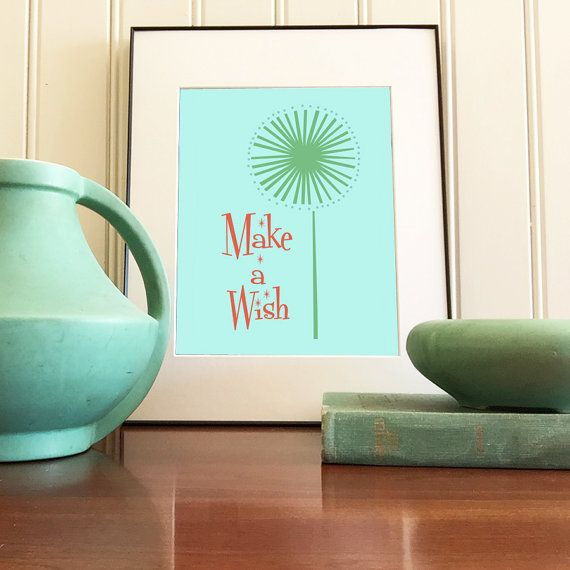 Make a wish dandelion giclee print by tinypicnicposters