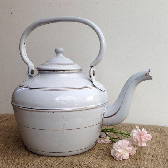 French Vintage, Enamel, Large, Kettle, Teapot, White, French Kitchen, Kitchenalia, country Kitchen, Restaurant, Cafe, Retail display, Tea