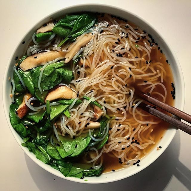 Having my favorite soup for dinner  Find the recipe for Chinese noodle soup on my blog blueberryvegan.com