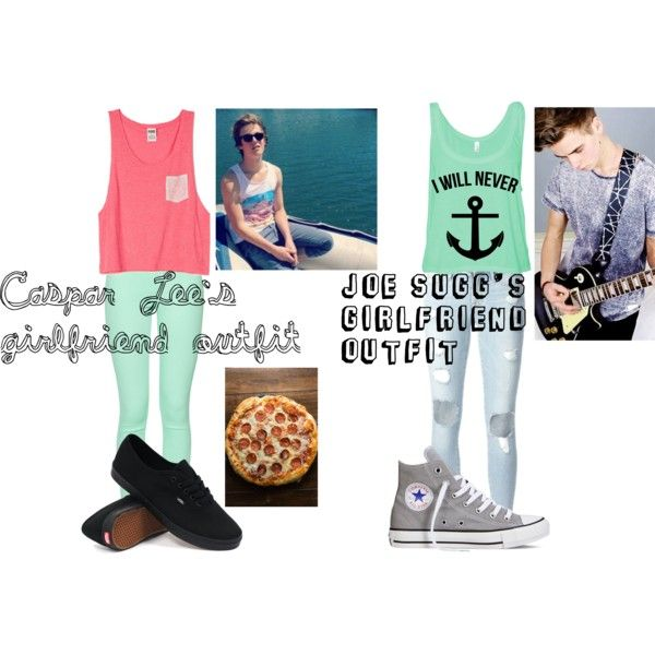 Joe Suggs and Caspar Lees girlfriends outfit #1 by youtubersbutt on Polyvore featuring Frame Denim, French Connection, Converse and Vans