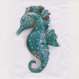 Hippocampe en mosaïque couleur bleue