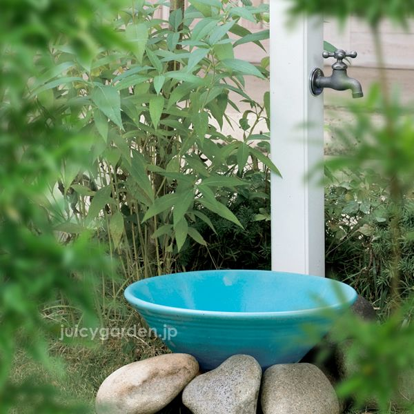 水受け,パン,水鉢,立水栓,水栓柱,和風,和モダン,織部,陶器,陶芸,庭,DIY