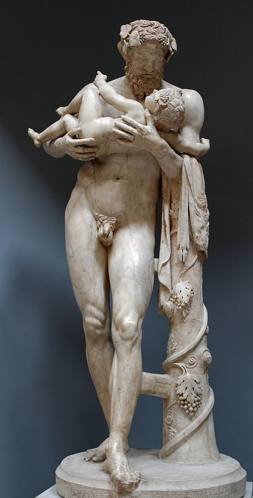 Silenus with infant Dionysus (Bacchus), Roman statue (marble) copy of Greek original from school of Lysippus, 2nd century AD, (original 4th c. BC), (Museo Chiaramonti, Musei Vaticani, Vatican City).