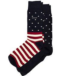 GANT Stars & Stripe Socks Box 2-pack Dark Blue