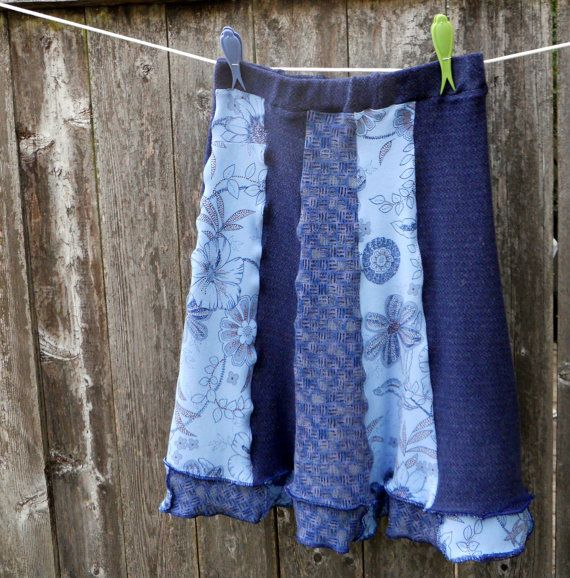 Recycled T-Shirt Skirt Upcycled Clothing Flared Skirt Navy Denim Blue EcoFriendly Small Medium