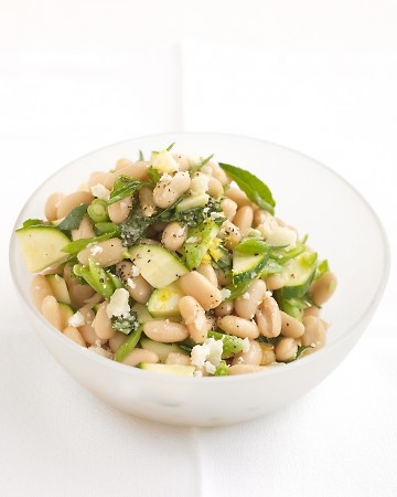 white bean and zucchini salad with parmesan, basil and lemon.