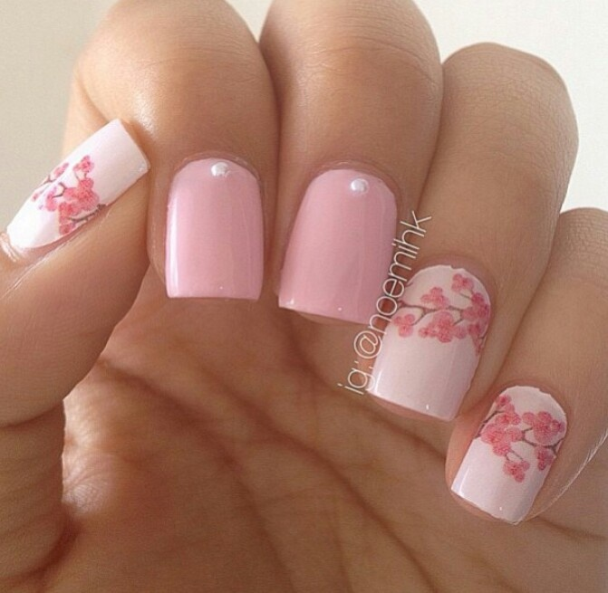 Cherry blossom nails.. so cute ♡