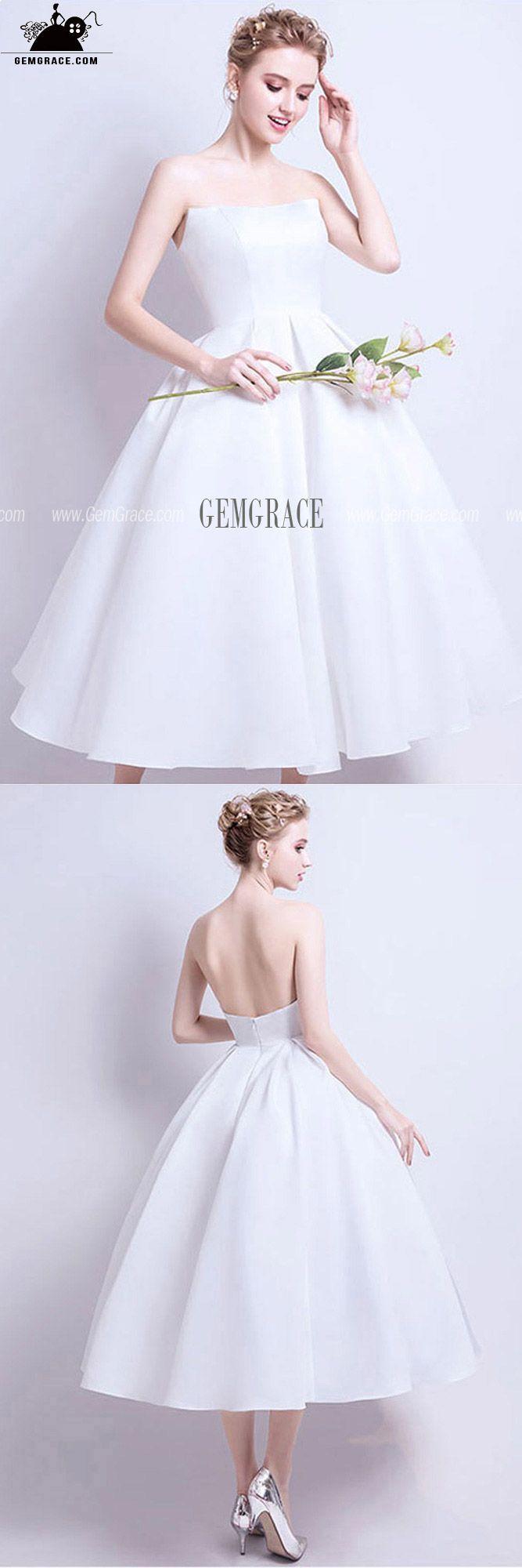Cute Tea Length Ballgown Wedding Party Dress For Brides Short Wedding Dress 1950s Wedding Dress Tea Length Simple Wedding Dress Short [ 2000 x 667 Pixel ]