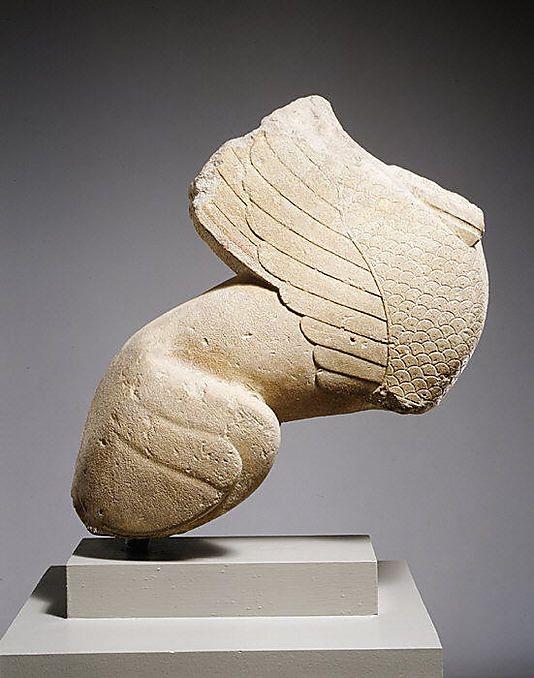 Limestone statue of a sphinx period archaic date ca