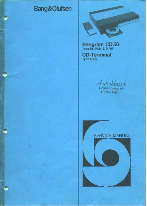 Bang & Olufsen Service Manual for : Beogram CD-50 cd player (type 5711 , 5712 , DOWNLOAD
