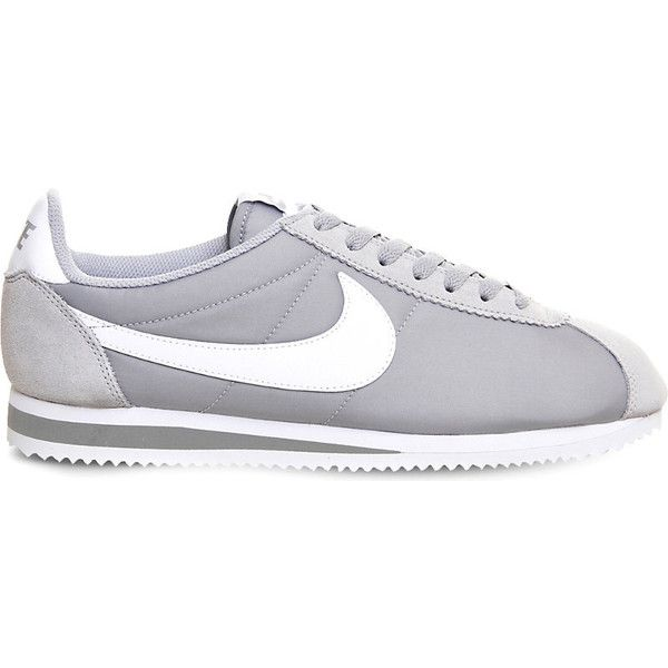 Nike Cortez og nylon trainers ($65) ❤ liked on Polyvore featuring shoes, sneakers, nylon shoes, print shoes, nylon sneakers, print sneakers and grey shoes