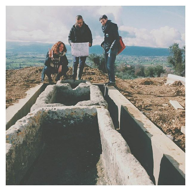 r e u s e :: the Italian team on site making sure everything is going okay with these salvaged travertine water basins // #waterfeature #reuse #salvaged #materials #concrete #landscapearchitecture #design #art #history #landscape #umbria #italy #europe #designstudio 📷@philip_vida