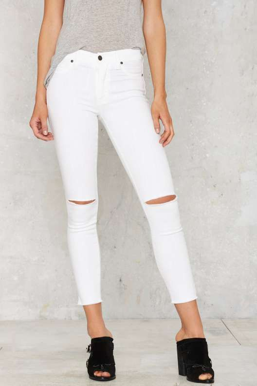 Aline High-Waisted Cropped Skinny Jeans -- White - What's New