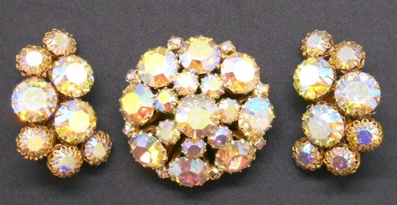Vintage prong set AB rhinestone brooch and earring set Austria, Austrian Aurora Borealis rhinestones
