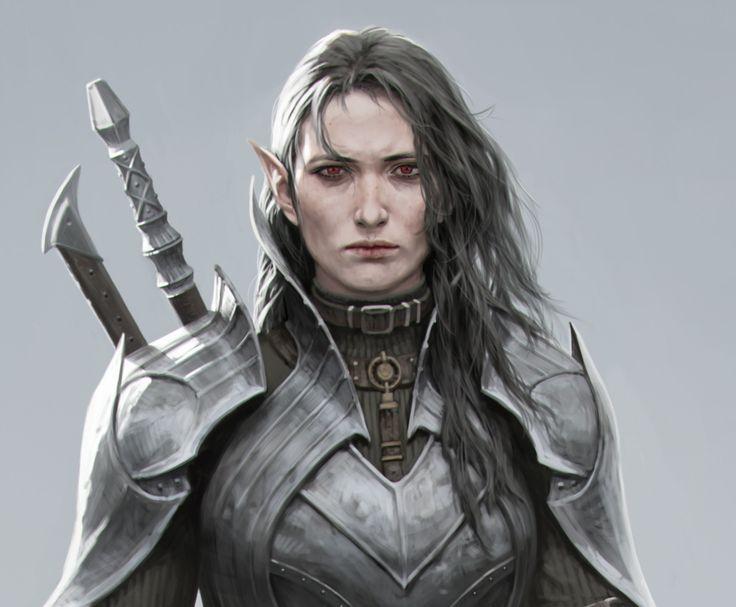 dark elf on the edge of a cliff, Yujin kim on ArtStation at https://www.artstation.com/artwork/KWJQy