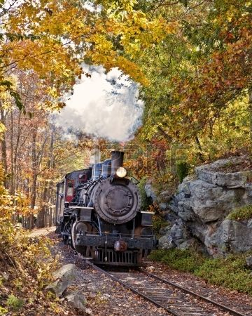Vertical orientation  of Essex Steam Train coming thru a rocky pass with a fall foliage backdrop  Stock Photo