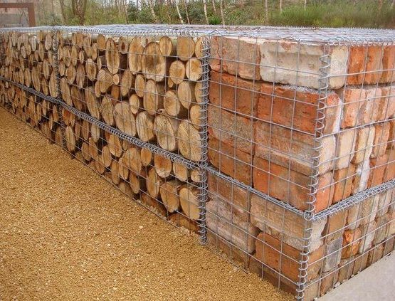 brick and log filled gabion wall httpwwwgabion1com - Gabion Walls Design