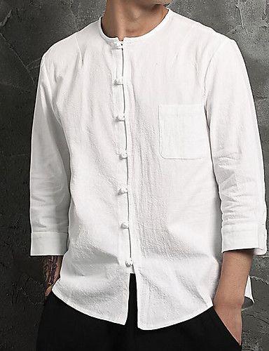 Hombre Simple Tejido Oriental Diario Camisa,Escote Redondo Un Color 3/4 Manga Algodón Lino 5933212 2017 – €14.54