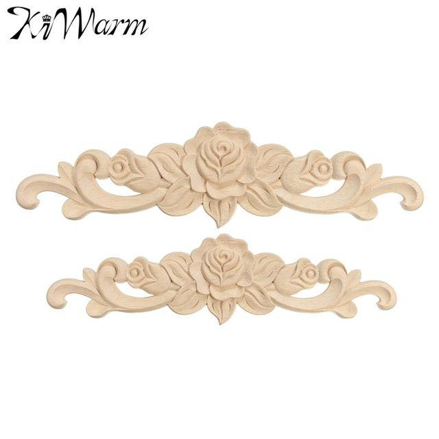 KiWarm 1 PC Rose Floral Bois Sculpté Decal Coin Applique Décorer Cadre Mur  Portes Meubles Décoratifs · Wooden FigurinesChinese FurnitureDoor ...