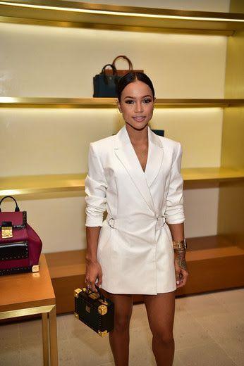 Splurge: Karrueche Tran's MCM Atlanta Store Opening StyleStalker White Blazer Dress