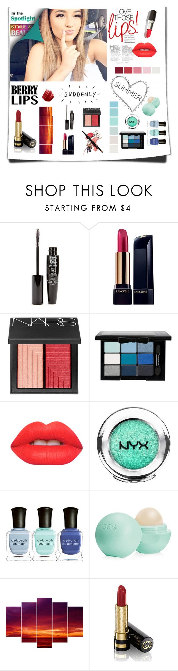 """Beauty magazine"" by kwr-23 ❤ liked on Polyvore featuring beauty, TheBalm, Lancôme, NARS Cosmetics, NYX, Lime Crime, Seed Design, Deborah Lippmann, Gucci and Urban Decay"