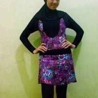 Baju Renang Muslimah Dewasa Ungu Motif Bunga beli di ellima.web.id